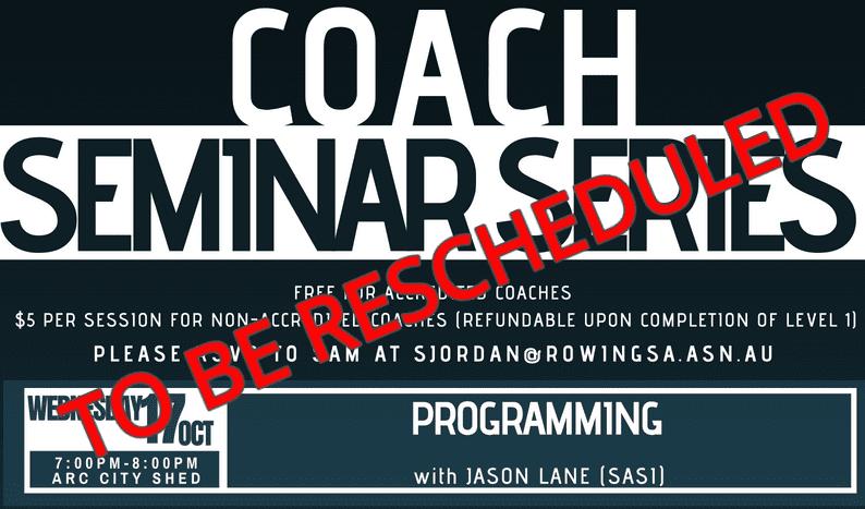 Programming Coaches Seminar – Rescheduled